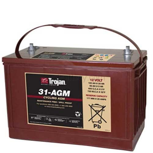 Trojan T31 Agm 12v 100ah Group 31 Deep Cycle Agm Battery