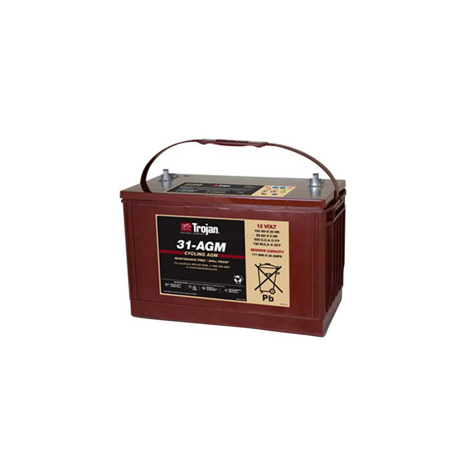trojan t31 agm 12v 100ah group 31 deep cycle agm battery. Black Bedroom Furniture Sets. Home Design Ideas