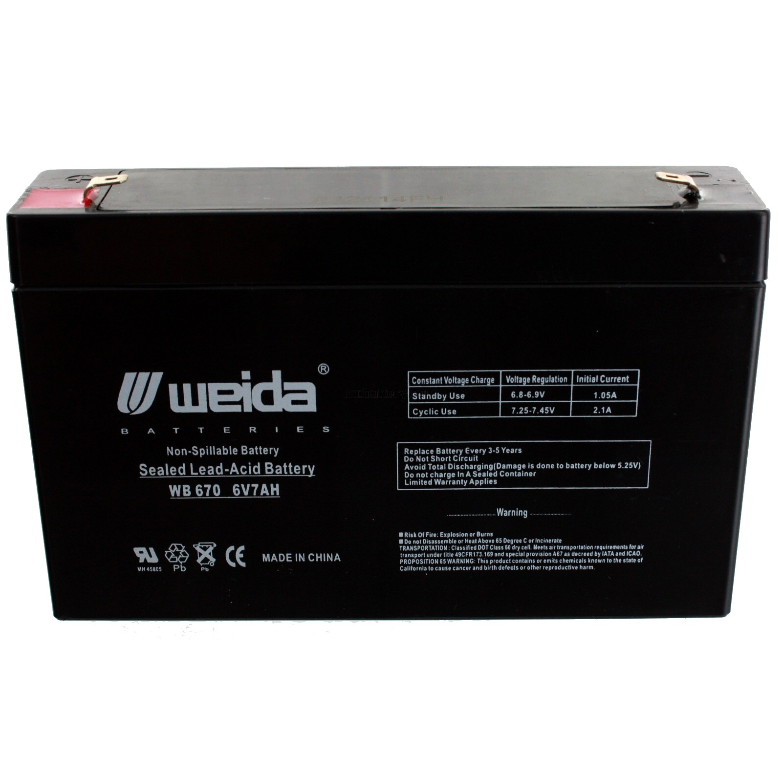 F1 Terminals Chloride 6V7.0AH 6V 7Ah Replacement Battery
