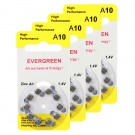 Hearing Aid Battery A10/B10_40 Evergreen 40pk, Size A10, Zinc Air