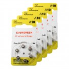 Hearing Aid Battery A10/B6_30 Evergreen 30pk, Size A10, Zinc Air, 1.4V