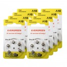 Hearing Aid Battery A10/B6_48 Evergreen 48pk, Size A10, Zinc Air, 1.4V