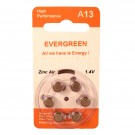 Hearing Aid Battery A13/B6 Evergreen 6pk, Size A13, Zinc Air, 1.4V