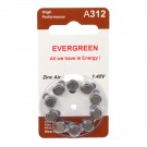 Hearing Aid Battery A312/B10 Evergreen 10pk, Size A312, Zinc Air, 1.4V