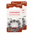 Hearing Aid Battery A312/B10_20 Evergreen 20pk, Size A312, Zinc Air