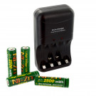 4pk NI-ZN AA 1.6V 2500mWh Batteries with NI-ZN Battery Charger Combo