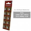 4 x 10pk Vinnic Size LR44 V357 357 AG13 Alkaline Watch Battery