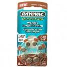 Rayovac L312ZA, VT312, XL312 Size 312 Hearing Aid 8pk Batteries