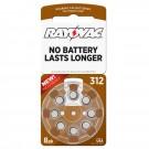 Hearing Aid Battery L312ZA-8ZM Rayovac 8pk, Size 312, Mercury Free