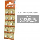 4 x 10pk Vinnic Size LR48 393 AG5 SR754W Alkaline Watch Battery