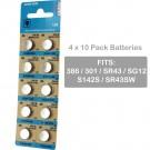 4 x 10pk Vinnic 386/301 SR43 SR43SW Silver Oxide Watch Battery