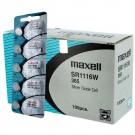 100pk Maxell Silver Oxide Watch Battery SR1116W High Drain Replace 365