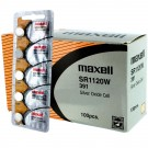 100pk Maxell Silver Oxide Watch Battery SR1120W High Drain Replace 391