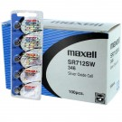 100pk Maxell Silver Oxide Watch Battery SR712SW Low Drain Replaces 346