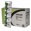 100pk Maxell Silver Oxide Watch Battery SR721SW Low Drain Replaces 362