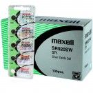 100pk Maxell Silver Oxide Watch Battery SR920SW Low Drain Replaces 371