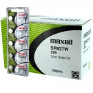 100pk Maxell Silver Oxide Watch Battery SR927W High Drain Replaces 399