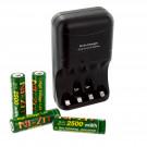 4pk NI-ZN AA 1.6V 2500mWh Batteries with NI-ZN Battery Charger Combo