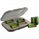 Battery Storage Box in Khaki w/6 Evergreen CR123 Lithium Batteries