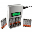 4 Slot Smart Charger  Includes 12pc AAA NiMH Rechargeable Batteries