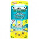 Rayovac 10AE, AC10, DA10H, Size 10 Hearing Aid 8pk Batteries