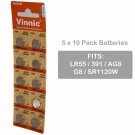 5 x 10pk Vinnic Size LR55 V391 391 AG8 Alkaline Watch Battery