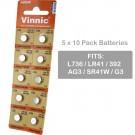 5 x 10pk Vinnic Size LR41 392 AG3 SR41W Alkaline Watch Battery