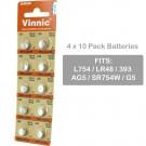 4 x 10pk Vinnic Size LR48 393 AG5 SR754W Alkaline Watch Battery