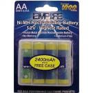 Empire NoMEM AA Rechargeable Batteries 2600mAh 1.2V Ni-MH 4pk