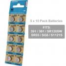 5 x 10pk Vinnic 391 SR1120SW SR55 Silver Oxide Watch Battery